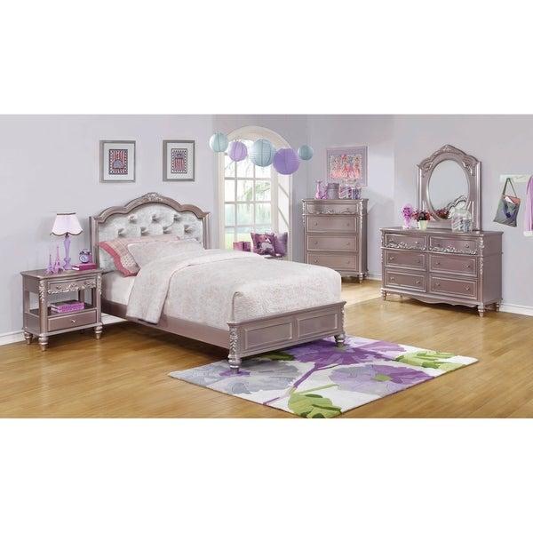 Seraphina Metallic Lilac 3-piece Bedroom Set with 2 Nightstands