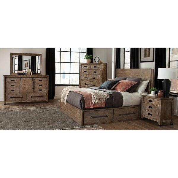 Madison Rustic Barn 2-piece Storage Bedroom Set with Nightstand