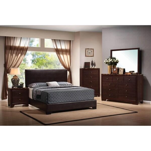 Clara Cappuccino 2-piece Upholstered Bedroom Set with Nightstand