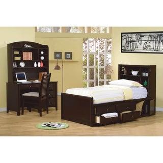 Vanessa Cappuccino 2-piece Storage Bedroom Set with Nightstand