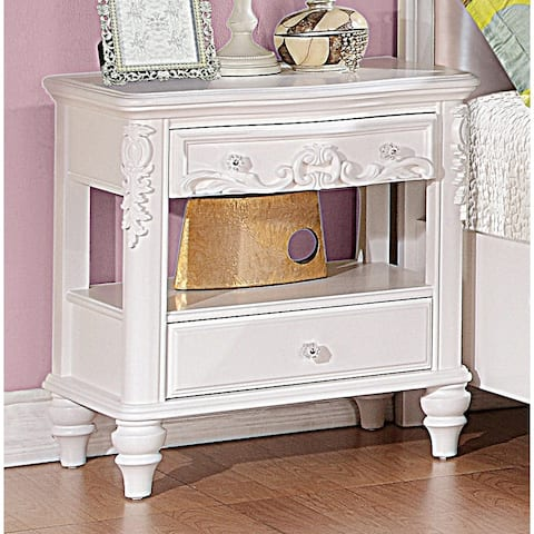 Seraphina White 2-piece Storage Bedroom Set with Nightstand
