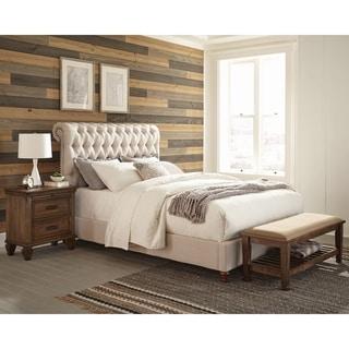 Clemence Beige 2-piece Upholstered Bedroom Set with Nightstand