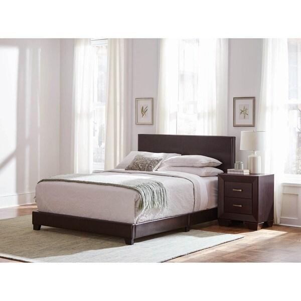 Warwick Brown 2-piece Upholstered Bedroom Set with Nightstand