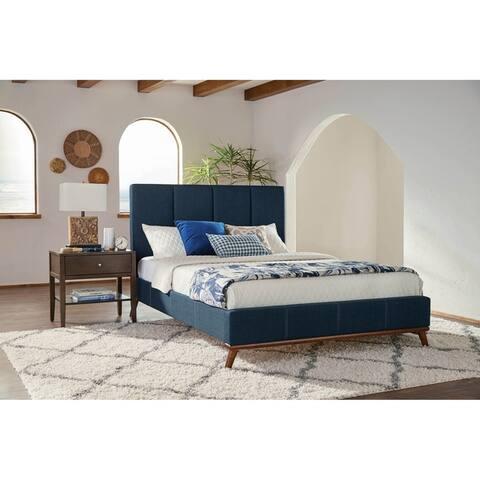 Alden Blue 3-piece Upholstered Bedroom Set with 2 Nightstands