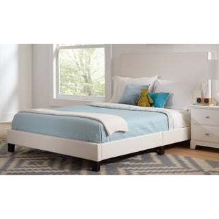 Darien White 2-piece Upholstered Bedroom Set with Nightstand