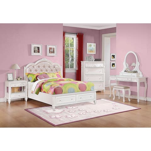 Seraphina White 3-piece Storage Bedroom Set with 2 Nightstands