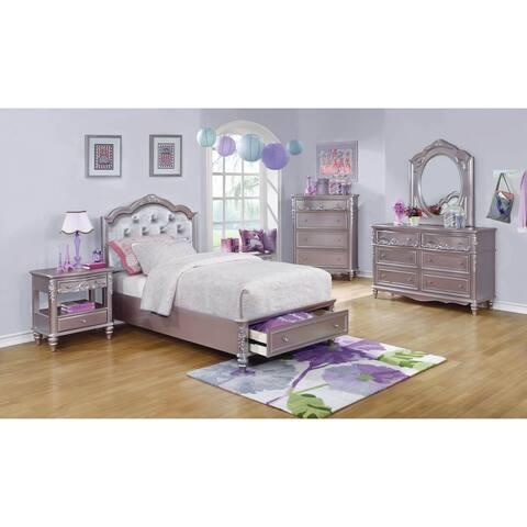 Seraphina Metallic Lilac 2-piece Storage Bedroom Set with Nightstand
