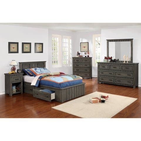 Crawford Gunsmoke 2-piece Storage Bedroom Set with Nightstand