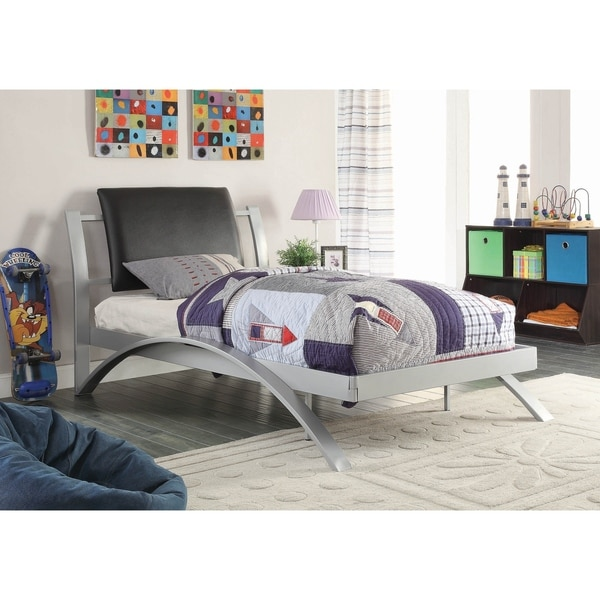 Asher Silver and Black 2-piece Upholstered Bedroom Set with Chest. Opens flyout.