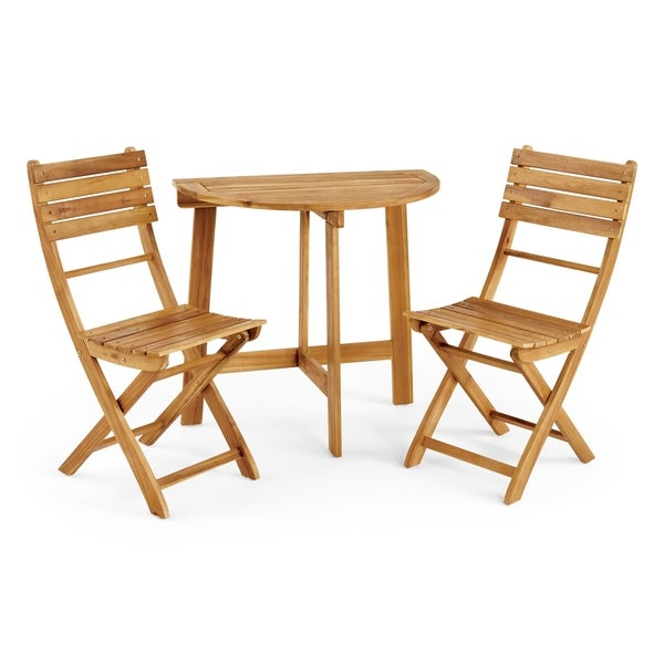 Westmount Outdoor 2 Seater Half-Round Folding Acacia Wood Bistro Table Set by Christopher Knight Home