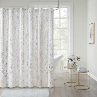 Intelligent Design Jennifer Gold Printed Floral Metallic Shower Curtain