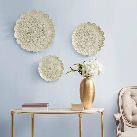 Madison Park Baley White with Gold Brush Wall Decor Set Of 3