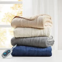 Beautyrest Plush Heated Throw with Foot Pocket