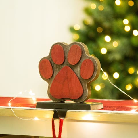 Glitzhome Christmas Wooden/Metal Stocking Holder