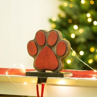 Link to Glitzhome Christmas Wooden/Metal Stocking Holder Similar Items in Christmas Decorations