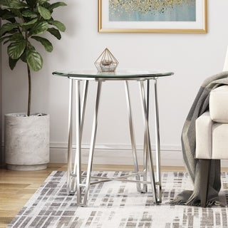 Nittany Modern End Table with Round Tempered Glass Top by Christopher Knight Home