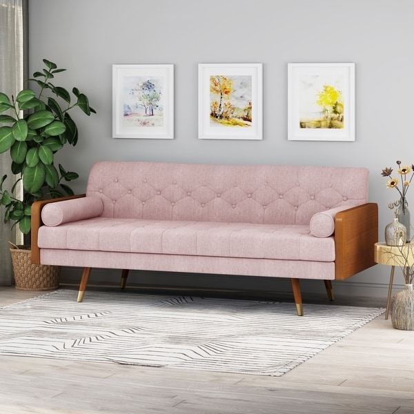 Jalon Mid-Century Modern Tufted Fabric Sofa by Christopher Knight Home. Opens flyout.