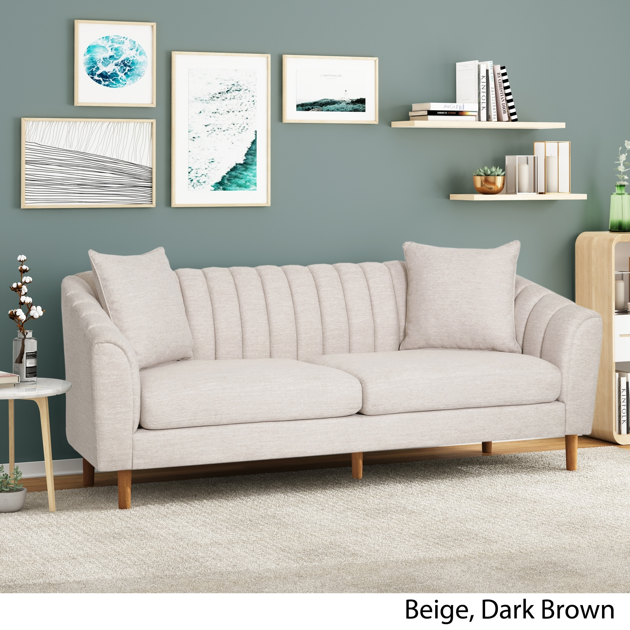 Ansonia Contemporary 3 Seater Fabric Sofa By Christopher Knight Home