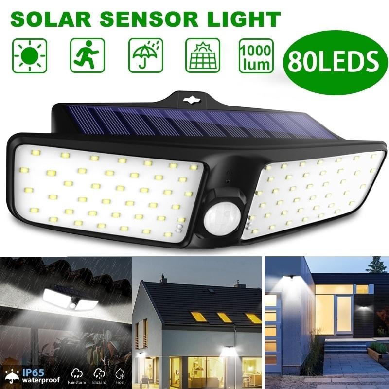 80 LED Solar Power PIR Motion Sensor Wall Light Outdoor Garden Lamp Waterproof