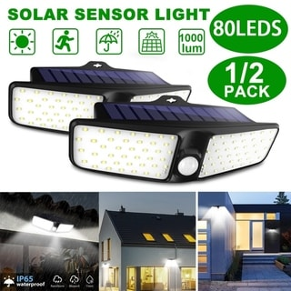 2PC 80 LED Solar Wall Lights Wireless Security Light Motion Sensor Outdoor IP65 Waterproof Light for Garden