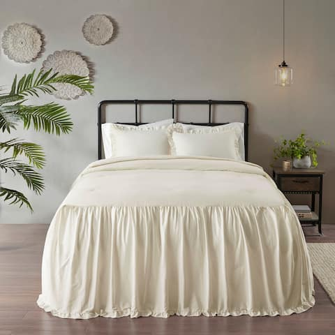 Madison Park Cecelia Ivory Cotton Ruffle Skirt Bedspread Set