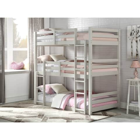 ACME Ronnie Triple Bunk Bed (Twin) in Light Gray