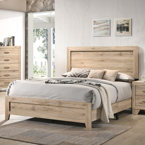 The Gray Barn Magnolia Queen Bed in Washed Oak. Opens flyout.