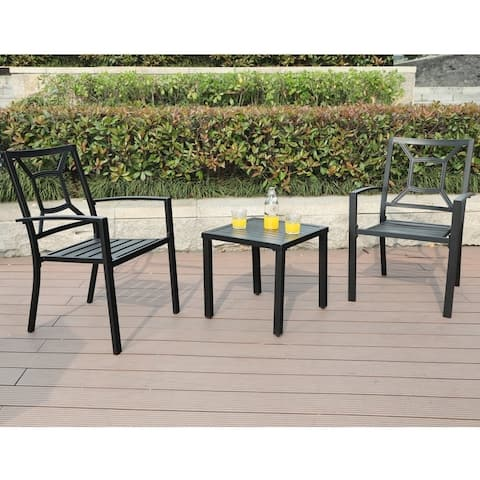 Claribelle 3-piece Black Patio Bistro Set with Square Table by Havenside Home