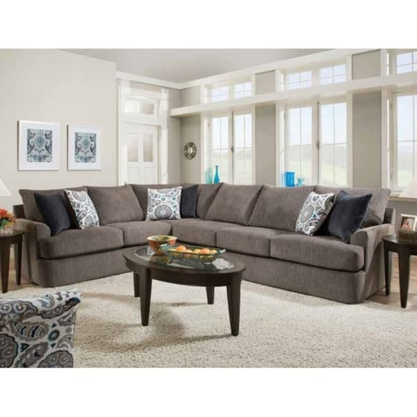 ACME Firminus Sectional Sofa in 2-Tone Brown Chenille