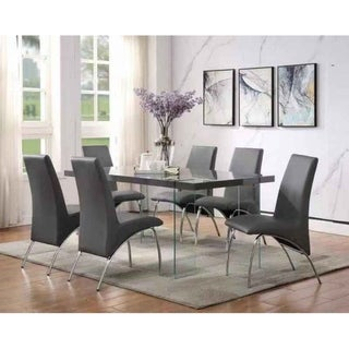 ACME Noland Dining Table in Gray High Gloss & Clear Glass