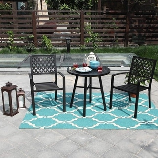 Havenside Home Claribelle 3-piece Black Patio Bistro Set with Round Table