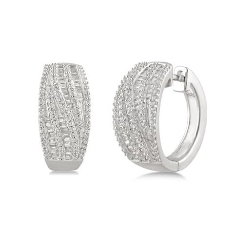 Divina Sterling Silver 1.00ct TDW Diamond Twist Hoop Earrings