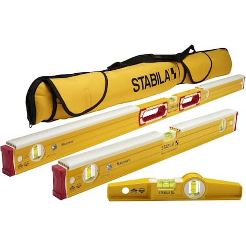 "Stabila 196-2 K Mason Level Set Kit w/ 48""/24"" & Torpedo Levels & Case"