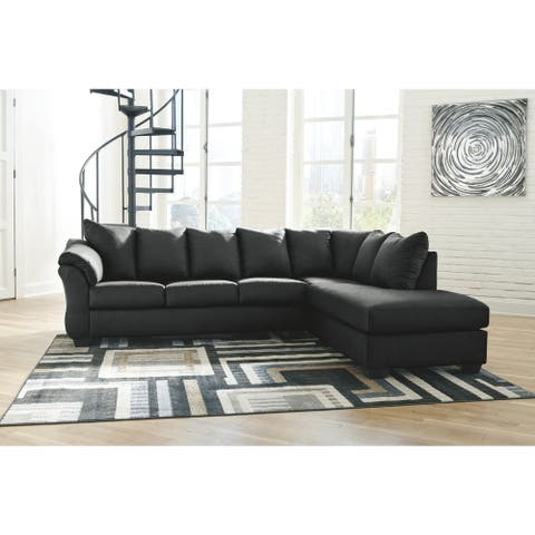 Darcy Black 2-piece Sectional with Right-facing Chaise