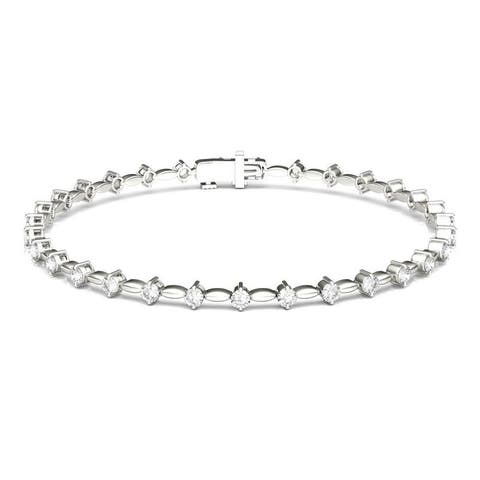 Moissanite by Charles & Colvard 14k White Gold Fashion Bracelet 0.93 TGW