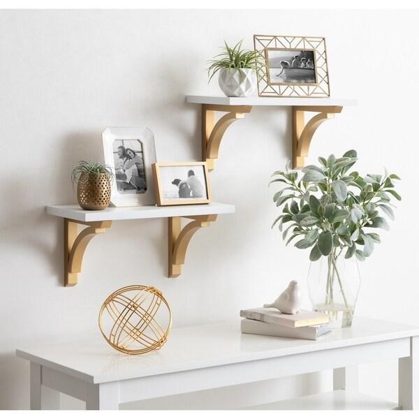 Kate and Laurel Corblynd Wood Wall Shelf Set - 2 Piece