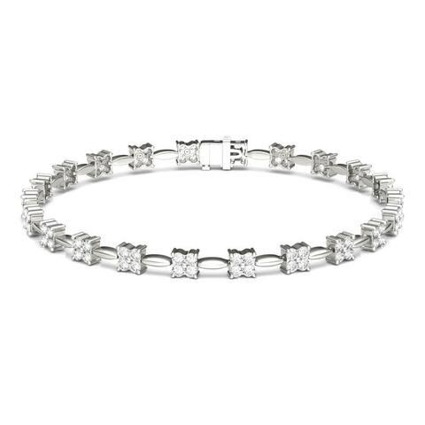 Moissanite by Charles & Colvard 14k White Gold Floral Bracelet 1.76 TGW