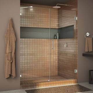 """DreamLine Unidoor Lux 47 in. W x 72 in. H Fully Frameless Hinged Shower Door with Support Arm - 47"""" W"""