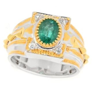 Michael Valitutti Men S Palladium Silver Emerald White Zircon Band Ring