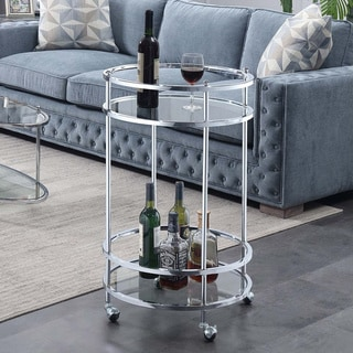 Silver Orchid Agnew Royal Crest Bar Cart with wheels