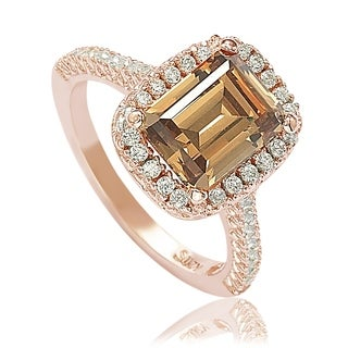 Suzy L Bridal Brown Cubic Zirconia With Halo Rose Sterling Silver Ring