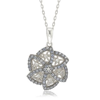 Suzy L Sterling Silver Sapphire Diamond Abstract Flower Pendant