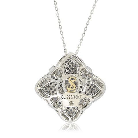 Suzy L. Sterling Silver Sapphire & Diamond Wrapped Cushion Pendant