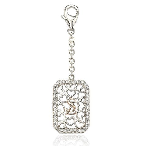 Suzy L. Sterling SIlver Cubic Zirconia Emerald-shape Charm - White