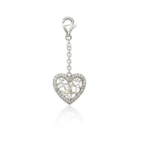 Suzy L. Sterling SIlver Cubic Zirconia Heart Charm - White