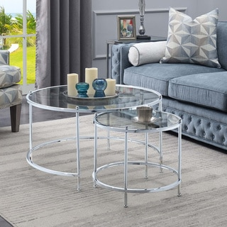 Silver Orchid Aitken Royal Crest Nesting Round Coffee Table