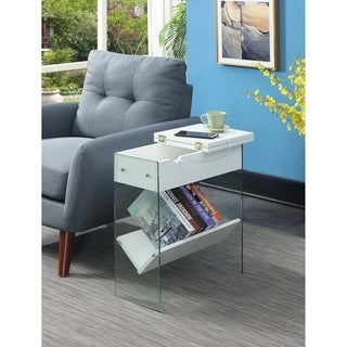 Porch & Den Urqhuart Glass/Wood Electric Flip Top End Table