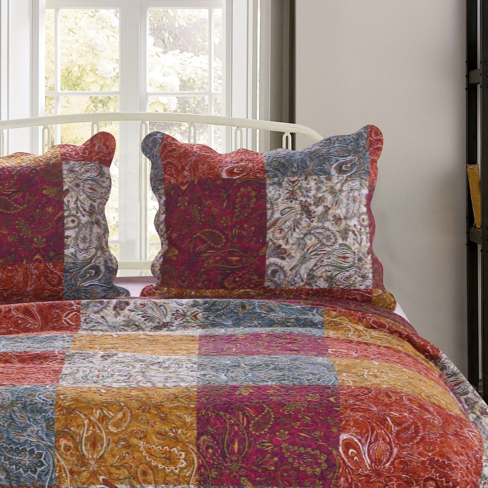 Porch Den Merritt Spice Color Paisley Quilted Pillow Sham Set Of 2 Overstock 28819710