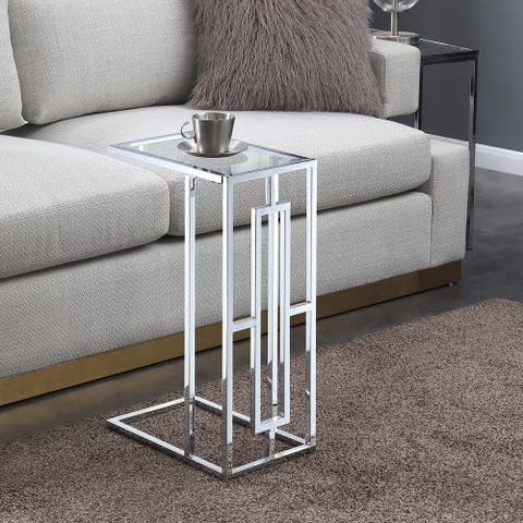 Silver Orchid Adams Square Chrome C-End Table