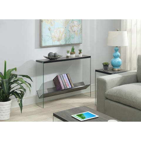 Porch & Den Urqhuart Glass/Wood V Console Table